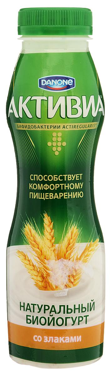 Активиа Биойогурт питьевой Злаки 2,2%, 290 г danone биойогурт густой термостатный 4