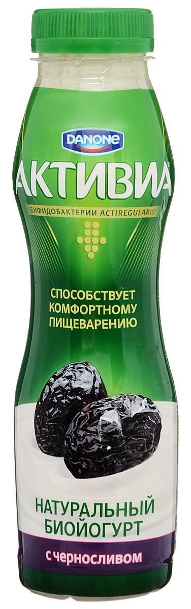 Активиа Биойогурт питьевой Чернослив 2%, 290 г активиа биойогурт густой чернослив 2 9