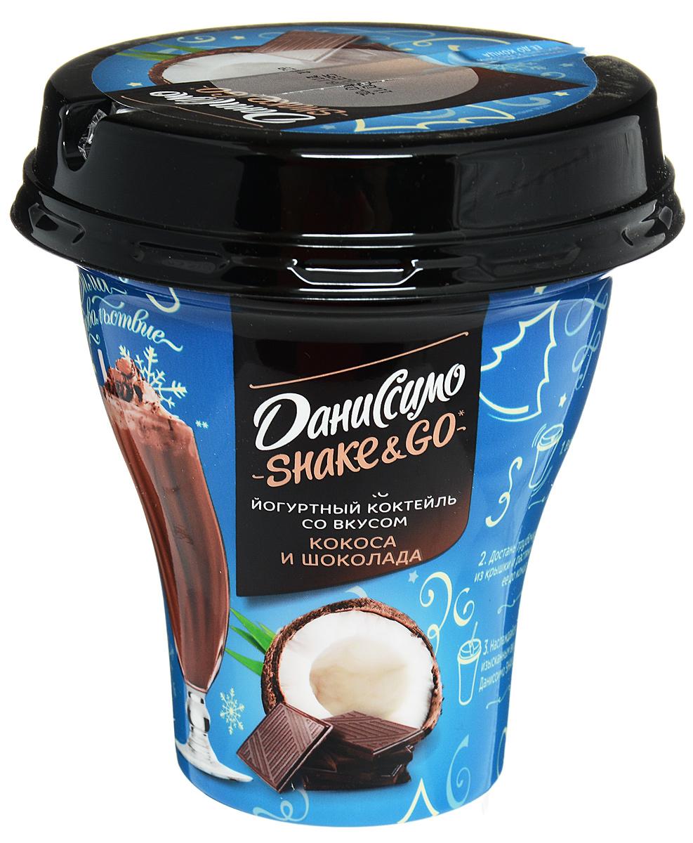 Даниссимо Йогуртный коктейль Кокос шоколад 5,7%, 260 г bauli круассаны на натуральной закваске с шоколадным кремом 20% 6 шт по 50 г