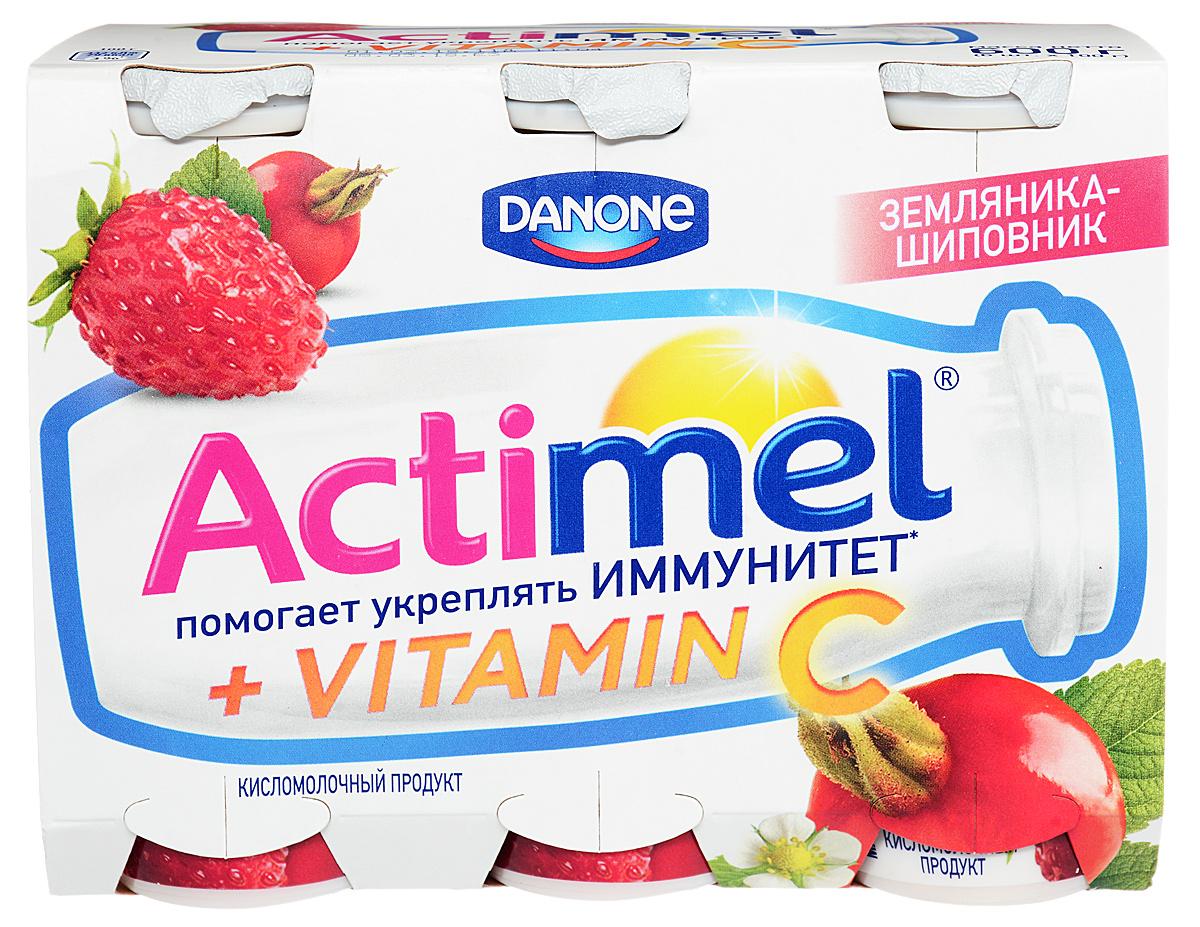 Актимель Продукт кисломолочный, Земляника-шиповник 2,5%, 6 шт по 100 г актимель продукт кисломолочный черника ежевика 2 5