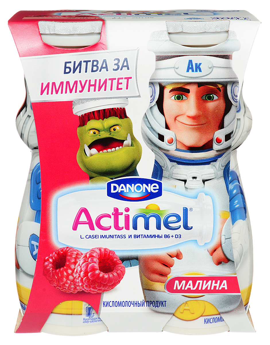 Актимель Продукт кисломолочный, Детский Малина 2,5%, 4 шт по 100 г актимель продукт кисломолочный детский клубника банан 2 5