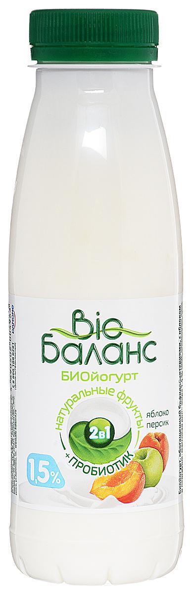 Био-Баланс Биойогурт Яблоко Персик 1,5%, 330 г био баланс биойогурт густой обогащенный черника голубика 2 8% 125 г