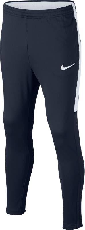 Брюки спортивные для мальчика Nike Dry Academy, цвет: синий, белый. 839365-451. Размер L (146/158)839365-451Детские футбольные брюки Nike Dry из мягкого влагоотводящего материала с зауженным кроем обеспечивают свободу движений и не ограничивают обзор мяча, чтобы ты мог успешно атаковать на полной скорости. Ткань Nike Dry эффективно отводит влагу от кожи. Боковые карманы на молнии надежно хранят важные мелочи, когда ты на поле. Облегающий крой с зауженными штанинами для снижения объема модели. Эластичный пояс с контрастной подкладкой и утягивающим шнурком обеспечивает надежную индивидуальную посадку. Легендарные боковые полоски Nike Football из дышащей сетки.