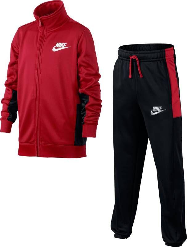 Спортивный костюм для мальчика Nike Sportswear, цвет: красный, черный. 856206-657. Размер XL (158/170)856206-657Спортивный костюм для мальчиков Nike Sportswear - универсальный комплект из двух предметов из легкой ткани с начесом по изнаночной стороне для тепла. Олимпийка и брюки имеют карманы на молниях для надежного хранения и украшены контрастными элементами. Ткань из полиэстера с начесом по изнаночной стороне для тепла. Эластичный пояс с утягивающим шнурком для идеальной посадки.
