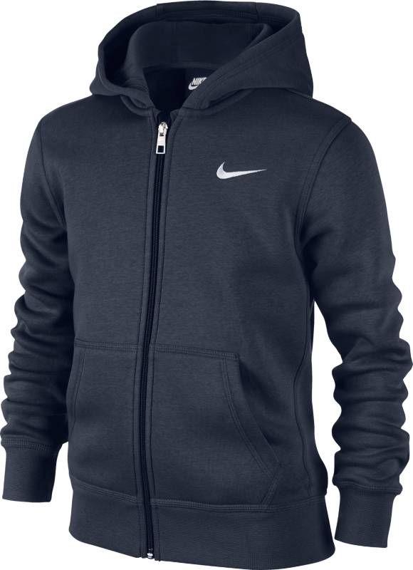 Толстовка для мальчика Nike Sportswear, цвет: синий. 619069-451. Размер XS (122/128)619069-451Толстовка для мальчика Nike, выполненная из хлопка с добавлением полиэстера, идеально подойдет для маленького модника. Материал очень мягкий и приятный на ощупь, не сковывает движения и позволяет коже дышать. Лицевая сторона изделия гладкая, изнаночная с теплым мягким начесом. Толстовка с капюшоном и длинными рукавами застегивается по всей длине на пластиковую молнию. Спереди расположены два накладных кармана. На капюшоне предусмотрена хлопковая подкладка. Манжеты и низ толстовки дополнены широкой эластичной резинкой, что обеспечивает наилучшее прилегание к телу и предотвращает деформацию при носки. Логотип Nike, вышитый на груди, создает стильный образ.Оригинальный современный дизайн делают эту толстовку модным предметом детского гардероба. В ней ваш непоседа будет чувствовать себя уютно и комфортно, и всегда будет в центре внимания!