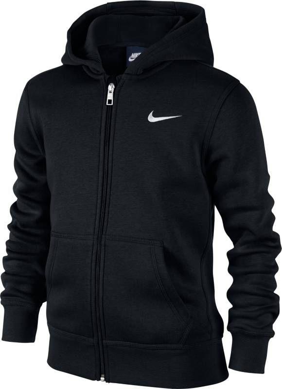 Толстовка для мальчика Nike Sportswear, цвет: черный. 619069-010. Размер XL (158/170)619069-010Толстовка для мальчика Nike, выполненная из хлопка с добавлением полиэстера, идеально подойдет для маленького модника. Материал очень мягкий и приятный на ощупь, не сковывает движения и позволяет коже дышать. Лицевая сторона изделия гладкая, изнаночная с теплым мягким начесом. Толстовка с капюшоном и длинными рукавами застегивается по всей длине на пластиковую молнию. Спереди расположены два накладных кармана. На капюшоне предусмотрена хлопковая подкладка. Манжеты и низ толстовки дополнены широкой эластичной резинкой, что обеспечивает наилучшее прилегание к телу и предотвращает деформацию при носки. Логотип Nike, вышитый на груди, создает стильный образ.Оригинальный современный дизайн делают эту толстовку модным предметом детского гардероба. В ней ваш непоседа будет чувствовать себя уютно и комфортно, и всегда будет в центре внимания!