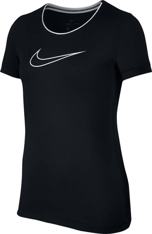Футболка для девочки Nike Pro, цвет: черный. 890230-010. Размер XL (158/170)