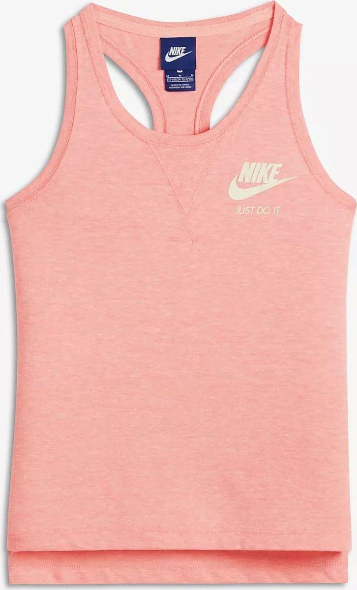 Майка для девочки Nike Sportswear, цвет: персиковый. 890557-697. Размер XL (158/170)