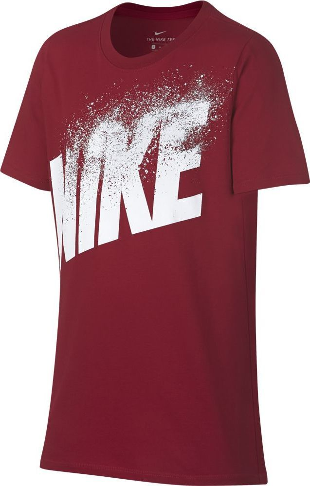 Футболка для мальчика Nike Dry, цвет: красный. 913113-687. Размер L (146/158)913113-687Футболка от Nike выполнена из хлопкового трикотажа. Модель с короткими рукавами и круглым вырезом горловины спереди оформлена принтом с логотипом бренда.