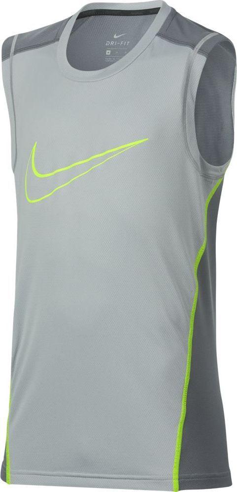 Майка для мальчика Nike Dry, цвет: серый. 895452-012. Размер L (146/158)895452-012Майка от Nike выполнена из 100% полиэстера. Модель без рукавов и с круглым вырезом горловины на груди оформлена логотипом бренда.