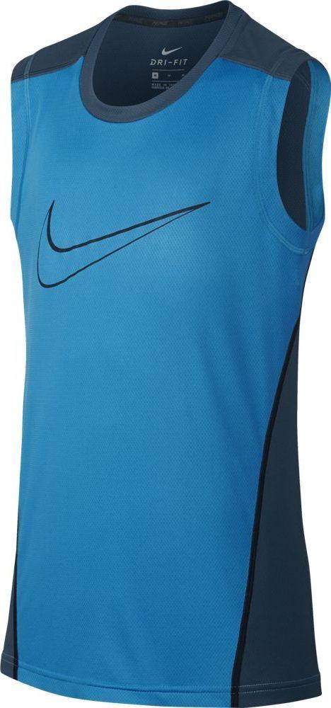 Майка для мальчика Nike Dry, цвет: синий. 895452-482. Размер L (146/158)895452-482Майка от Nike выполнена из 100% полиэстера. Модель без рукавов и с круглым вырезом горловины на груди оформлена логотипом бренда.