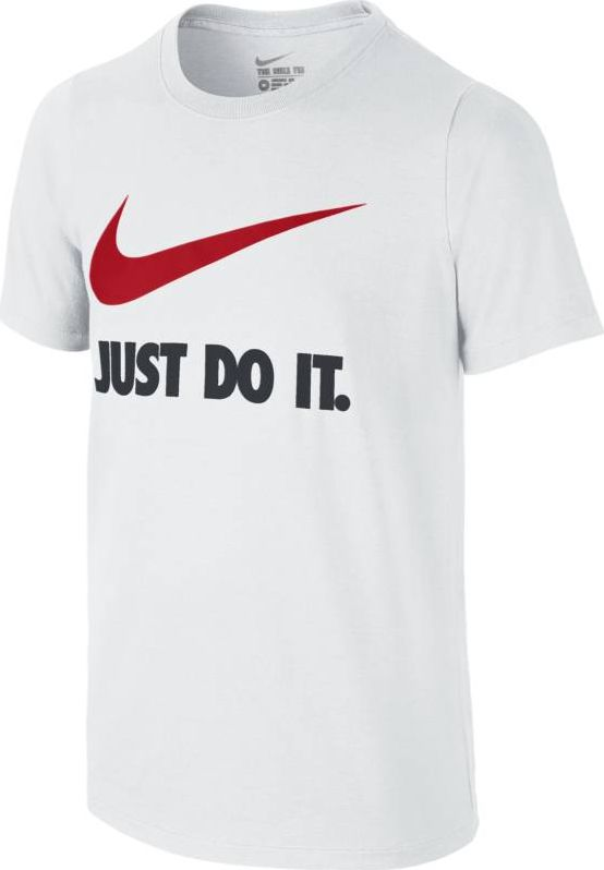 Футболка для мальчика Nike Jdi Swoosh Crew, цвет: белый. 709952-100. Размер XL (158/170)