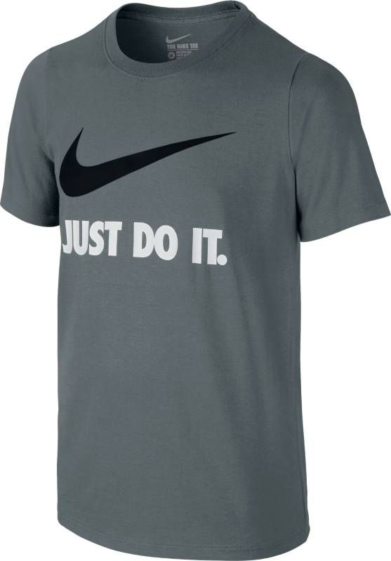 Футболка для мальчика Nike Jdi Swoosh Crew, цвет: серый. 709952-065. Размер S (128/140)