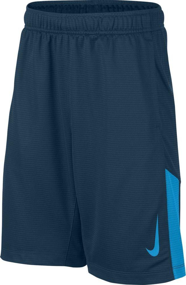 Шорты для мальчика Nike Dry, цвет: синий. 892496-474. Размер S (128/140)892496-474Тренировочные шорты для мальчика Nike Dry с технологией влагоотведения Dri-FIT и воздухопроницаемой сеткой для легкой удобной посадки идеально подходят для любых тренировок или игры. Ткань Nike Dry отводит влагу и обеспечивает комфорт. Карманы с подкладкой из сетки для удобного хранения. Эластичный пояс для надежной посадки. Вставка из сетки в нижней части штанин для вентиляции.