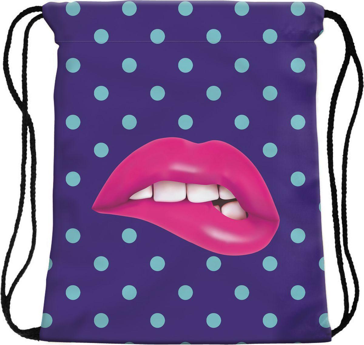 Homsu Сумка для сменной обуви Pink lipsPF-S-13Сумка-мешок для сменной обуви Pink lips подойдет для любого размера обуви, а также поднимет настроение ярким и красочным дизайном. Она затягивается шнурками, выполняющими также функцию лямок.