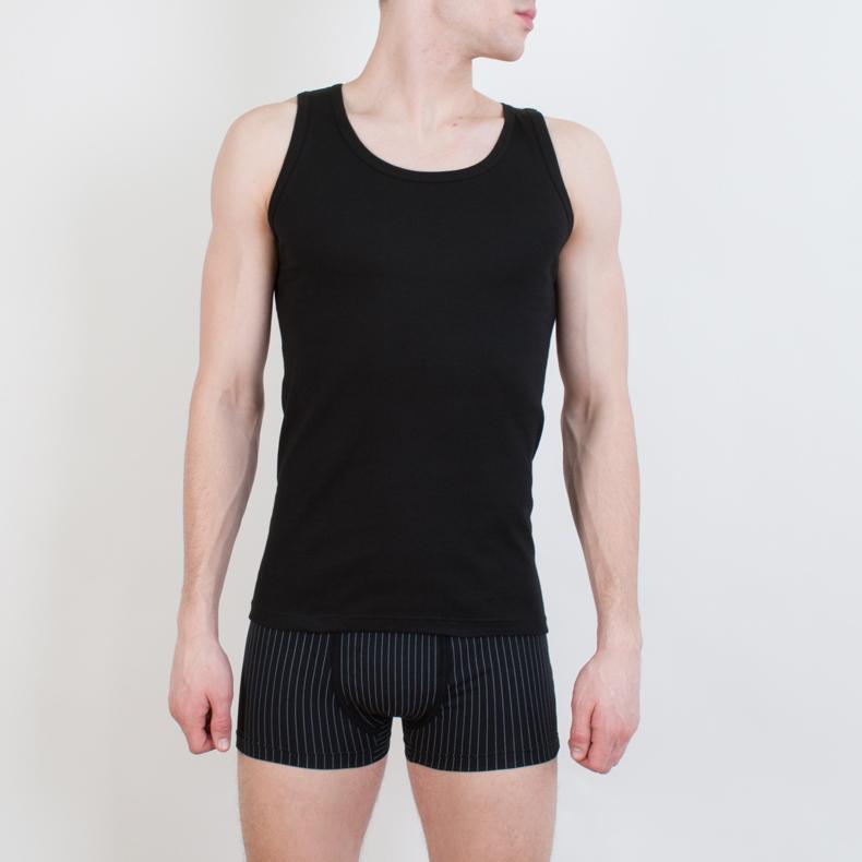Фото Майка бельевая мужская Rossoporpora Vogatore Spalla Larga Costina, цвет: черный. 70/20. Размер XL (52)
