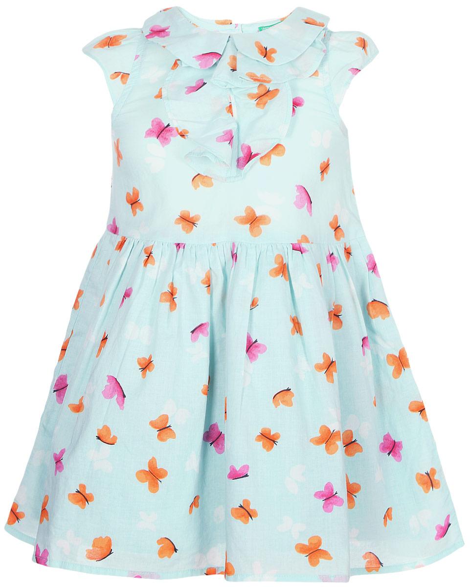 Платье для девочки United Colors of Benetton, цвет: голубой. 4XB35V1OP_921. Размер 100 платье united colors of benetton united colors of benetton un012ewpid61