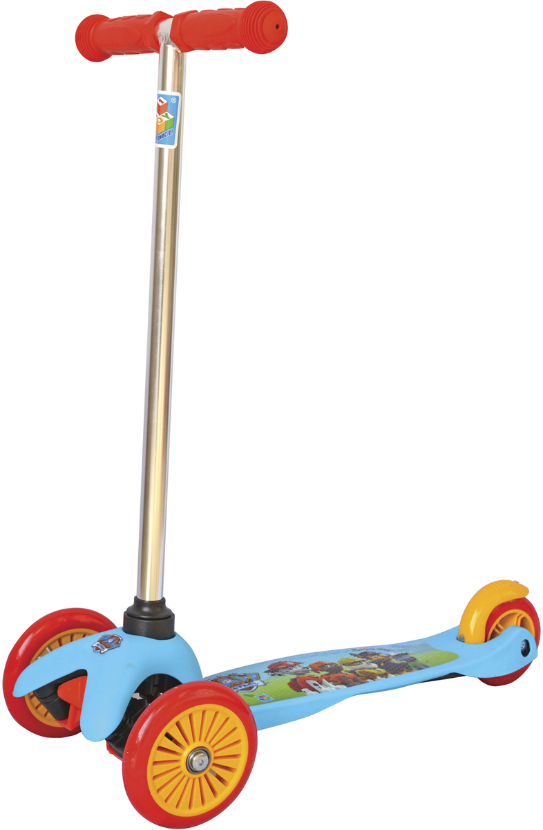 Самокат 1 Toy Щенячий патруль, 2-колесный. Т10001Т10001самокат подходит для детей от 3 до 8 лет. Платформа, рама выполнены из прочного материала нейлон, руль самоката выполнен из лёгкого алюминиевого сплава. Диаметр передних колес 125 мм, заднего 100 мм. Платформа для ног с не скользящим покрытием и яркой наклейкой, ширина платформы 11 см. Максимальная нагрузка на самокат 30 кг.Изображения товара, включая цвет, могут отличаться от реального внешнего вида. Комплектация также может быть изменена производителем без предварительного уведомления. Описание не является публичной офертой. Убедительно просим Вас при выборе модели проверять наличие желаемых функций и характеристик. Диаметр переднего/заднего колеса: 2х125/100 мм Материал: алюминий/нейлон Размер самоката (см): 54х11х72(62) Масса самоката (кг): 1.75 Индивидуальная цветная упаковка Материал колес: PVC Ручки: резина Тормоз