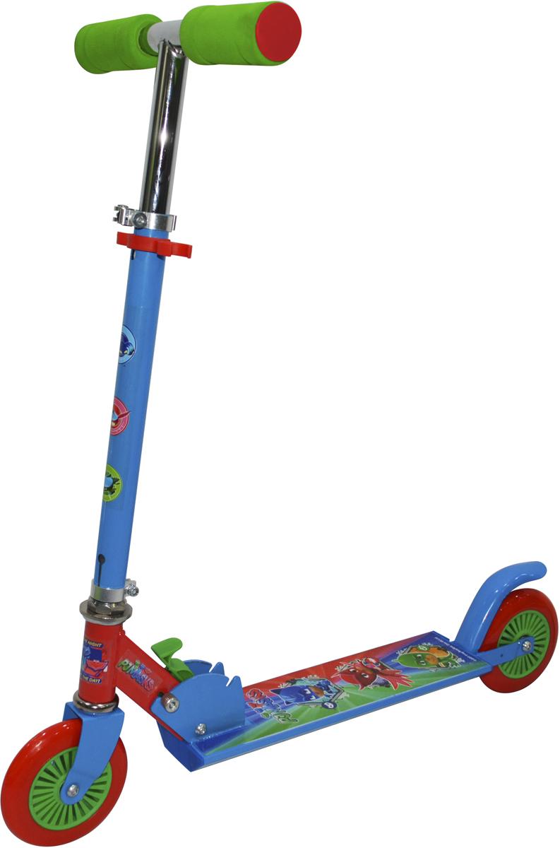 Самокат 1 Toy PJ MASKS, 2-колесный. Т11399Т11399Самокат PJ MASKS подходит для детей от 3 до 8 лет. Руль самокатавыполнены из лёгкого алюминиевого сплава. Узел складывания сделан изалюминия и безопасного пластика. Регулируемый руль (до 71 см), имеет триуровня фиксации. Диаметр переднего и заднего колеса 125 мм, подшипникиABEC-7. Платформа для ног с не скользящим покрытием и яркой наклейкой,размеры платформы: 9,5 см. Максимальная нагрузка на самокат 50 кг.Изображения товара, включая цвет, могут немного отличаться от реальноговнешнего вида. Комплектация также может быть изменена производителембез предварительного уведомления. Описание не является публичнойофертой. Убедительно просим вас при выборе модели проверять наличиежелаемых функций и характеристик.Материал: алюминий, сталь Размер самоката (см): 62 х 9,5 х 83 Масса самоката (кг): 1,9 Индивидуальная цветная упаковка Материал колес: PVC Складные ручки Тормоз.