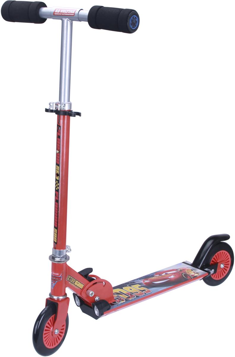 Самокат 1 Toy Disney. Тачки, 2-колесный. Т11409Т11409Самокат подходит для детей от 3 до 8 лет. Руль самоката выполнены излёгкого алюминиевого сплава. Узел складывания сделан из алюминия ибезопасного пластика. Регулируемый руль (до 72 см), имеет три уровняфиксации. Диаметр переднего и заднего колеса 125 мм, жесткость 82А,подшипники ABEC-7. Платформа для ног с не скользящим покрытием ияркой наклейкой, ширина платформы: 10,5 см. Самокат оснащен переднимии задними фарами. Максимальная нагрузка на самокат 50 кг.Изображения товара, включая цвет, могут немного отличаться от реальноговнешнего вида. Комплектация также может быть изменена производителембез предварительного уведомления. Описание не является публичнойофертой. Убедительно просим вас при выборе модели проверять наличиежелаемых функций и характеристик.Материал: алюминий, сталь Размер самоката (см): 67 х 10,5 х 82(72) Масса самоката (кг): 2,5 Индивидуальная цветная упаковка Материал колес: PVC Передние и задние огни Тормоз.