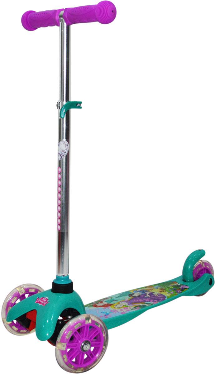 Самокат 1 Toy Disney Принцесса, 2-колесный. Т11413Т11413Самокат трёхколёсный 1TOY подходит для детей от 3 до 8 лет. Платформа, рама выполнены из прочного материала нейлон, руль самоката выполнен из лёгкого алюминиевого сплава. Регулируемый руль (до 62 см), имеет три уровня фиксации. Диаметр передних колес 125 мм, заднего 100 мм. Платформа для ног с не скользящим покрытием и яркой наклейкой, ширина платформы 11 см. Максимальная нагрузка на Самокат трёхколёсный 1TOY30 кг.Изображения товара, включая цвет, могут немного отличаться от реального внешнего вида. Комплектация также может быть изменена производителем без предварительного уведомления. Описание не является публичной офертой. Убедительно просим Вас при выборе модели проверять наличие желаемых функций и характеристик. Диаметр переднего/заднего колеса: 2х125/100 мм Материал: алюминий/нейлон Размер самоката (см): 54х11х72(62) Масса самоката (кг): 1,8 Индивидуальная цветная упаковка Материал колес: PVC Ручки: резина Колеса: передние со светом Тормоз