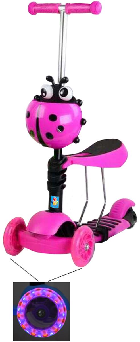 Самокат 1 Toy , 3-колесный. Т11427Т11427самокат подходит для детей от 3 до 8 лет. Платформа, рама выполнены из нейлона и пластика, руль самоката выполнен из лёгкого алюминиевого сплава. Регулируемый руль (до 51 см), имеет три уровня фиксации. Полиуретановые колеса со светом легко и быстро крутятся, что обеспечивает хорошую управляемость и скорость самоката. Оснащен регулируемым (в 3х положениях), съемным сиденьем, корзиной. Диаметр передних колес 120 мм, заднего 100 мм. Ширина платформы: 13 см. Максимальная нагрузка на самокат 30 кг.Изображения товара, включая цвет, могут отличаться от реального внешнего вида. Комплектация также может быть изменена производителем без предварительного уведомления. Описание не является публичной офертой. Убедительно просим Вас при выборе модели проверять наличие желаемых функций и характеристик. Диаметр переднего/заднего колеса: 2х120мм/100мм Размер самоката (см): 56,5х13х69(51) Масса самоката (кг): 2,5 Максимальная нагрузка: 30 кг Для детей от 3 лет Материал: нейлон/алюминий Индивидуальная цветная упаковка Материал колес: полиуретан Колеса со светом Регулируемый руль Регулируемое съемное сиденье Корзина Тормоз
