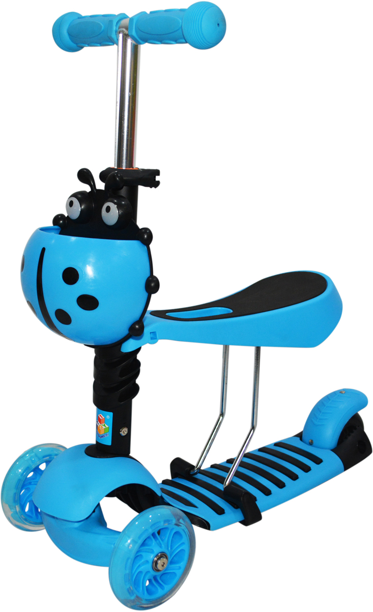 Самокат 1 Toy , 4-колесный. Т11428Т11428самокат подходит для детей от 3 до 8 лет. Платформа, рама выполнены из нейлона и пластика, руль самоката выполнен из лёгкого алюминиевого сплава. Регулируемый руль (до 51 см), имеет три уровня фиксации. Полиуретановые колеса со светом легко и быстро крутятся, что обеспечивает хорошую управляемость и скорость самоката. Оснащен регулируемым (в 3х положениях), съемным сиденьем, корзиной. Диаметр передних колес 120 мм, заднего 100 мм. Ширина платформы: 13 см. Максимальная нагрузка на самокат 30 кг.Изображения товара, включая цвет, могут отличаться от реального внешнего вида. Комплектация также может быть изменена производителем без предварительного уведомления. Описание не является публичной офертой. Убедительно просим Вас при выборе модели проверять наличие желаемых функций и характеристик. Диаметр переднего/заднего колеса: 2х120мм/100мм Размер самоката (см): 56,5х13х69(51) Масса самоката (кг): 2,5 Максимальная нагрузка: 30 кг Для детей от 3 лет Материал: нейлон/алюминий Индивидуальная цветная упаковка Материал колес: полиуретан Колеса со светом Регулируемый руль Регулируемое съемное сиденье Корзина Тормоз