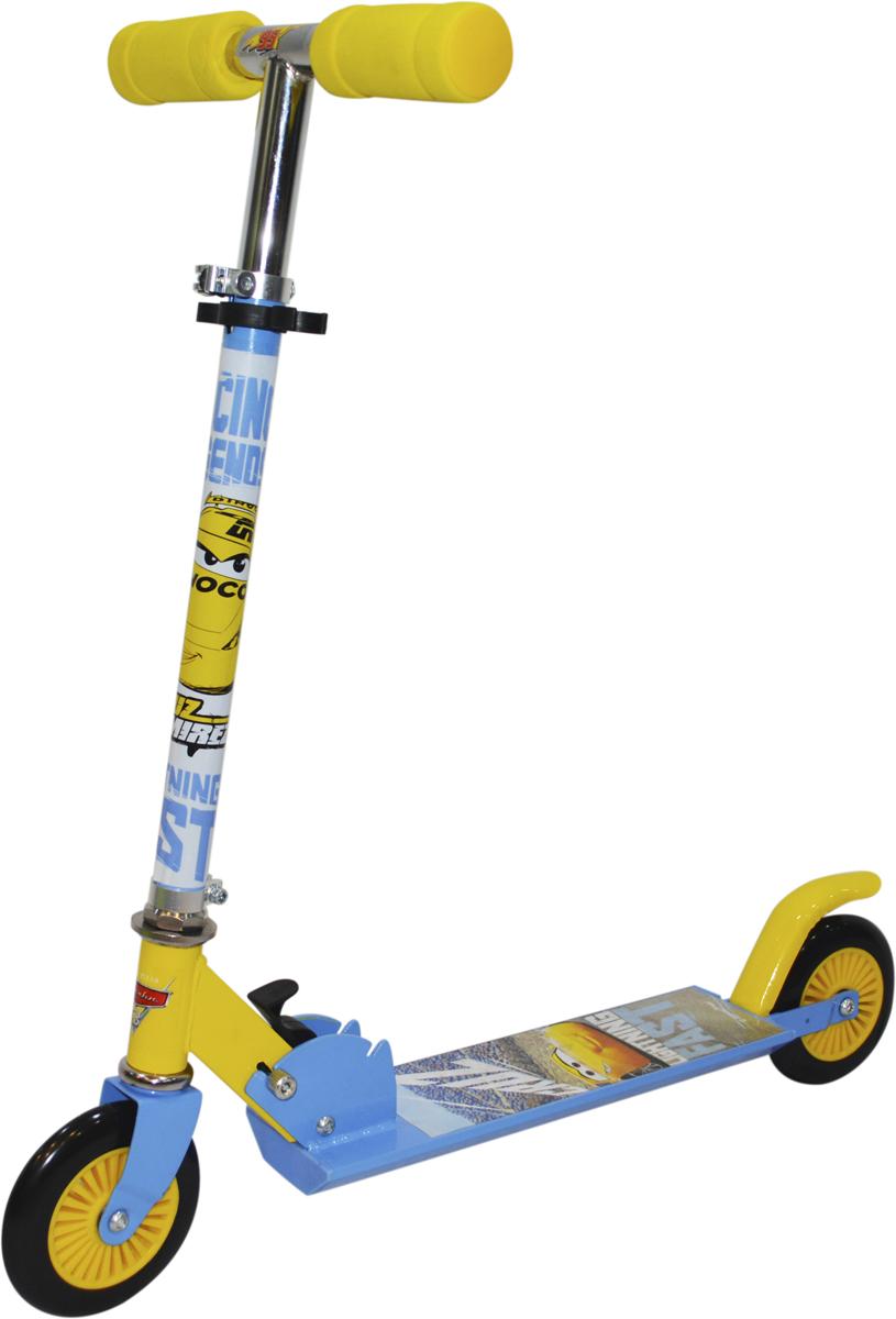 Самокат 1 Toy Disney. Тачки, 2-колесный. Т11694Т11694Самокат подходит для детей от 3 до 8 лет. Руль самоката выполнены излёгкого алюминиевого сплава. Узел складывания сделан из алюминия ибезопасного пластика. Регулируемый руль (до 72 см), имеет три уровняфиксации. Диаметр переднего и заднего колеса 125 мм, жесткость 82А,подшипники ABEC-7. Платформа для ног с не скользящим покрытием ияркой наклейкой, ширина платформы: 10,5 см. Самокат оснащен переднимии задними фарами. Максимальная нагрузка на самокат 50 кг.Изображения товара, включая цвет, могут немного отличаться от реальноговнешнего вида. Комплектация также может быть изменена производителембез предварительного уведомления. Описание не является публичнойофертой. Убедительно просим вас при выборе модели проверять наличиежелаемых функций и характеристик.Материал: алюминий, сталь Размер самоката (см): 67 х 10,5 х 82(72) Масса самоката (кг): 1,9 Индивидуальная цветная упаковка Материал колес: PVC Передние и задние огни Тормоз.