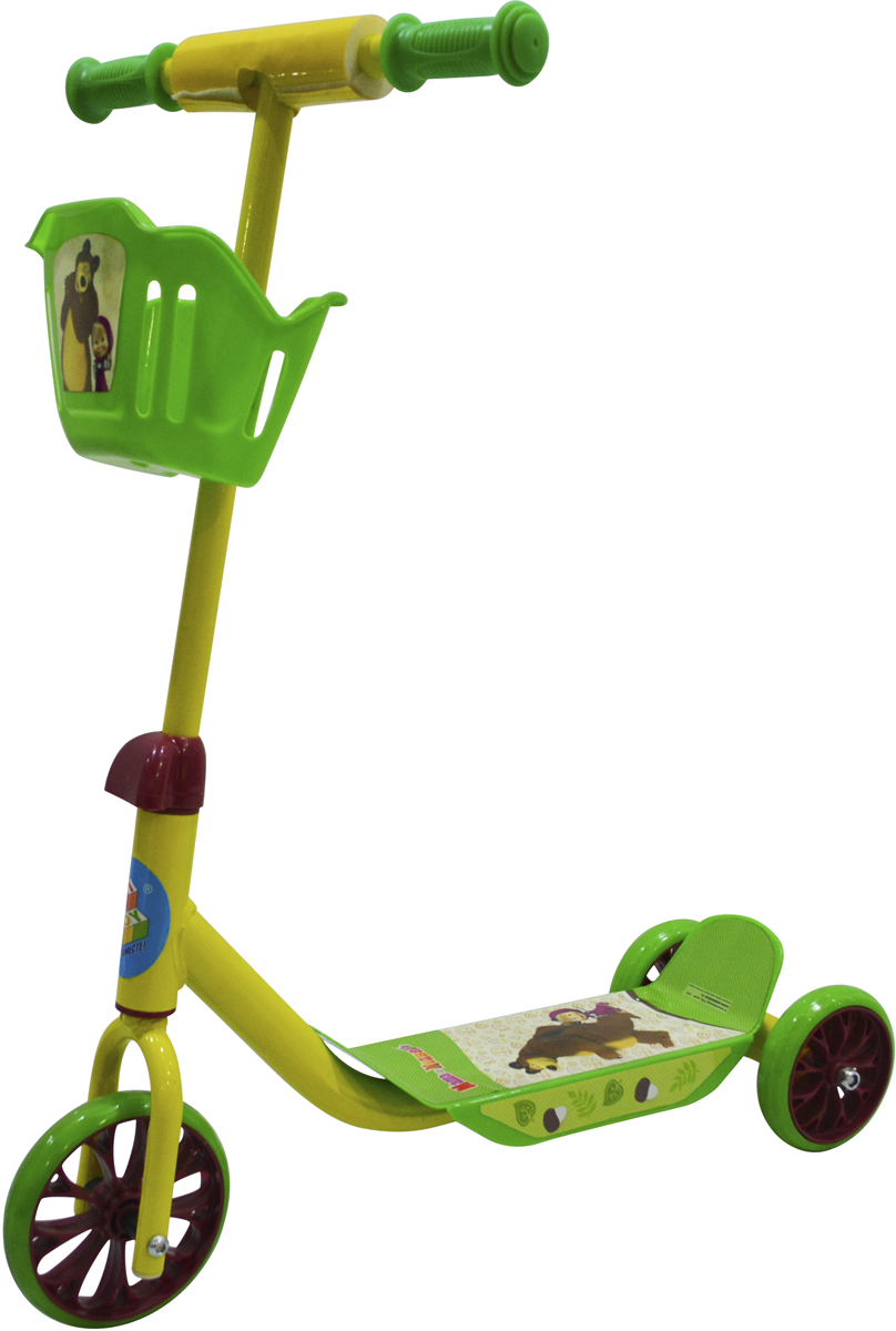 """Самокат 1 Toy """"Маша и Медведь"""", 3-колесный. Т11701, 1TOY"""