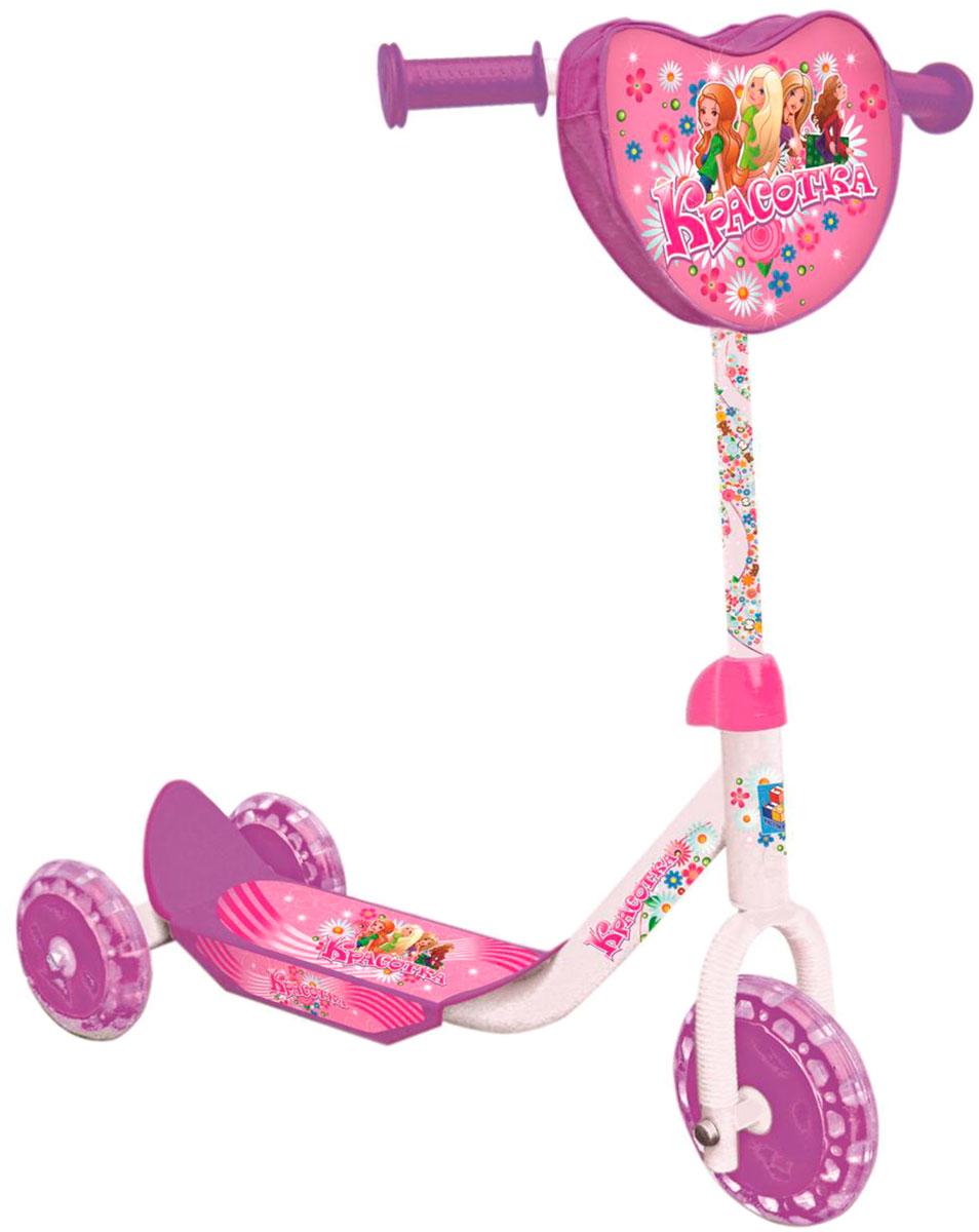 1TOY Самокат детский трехколесный Красотка цвет розовый белый, Solmar Pte Ltd