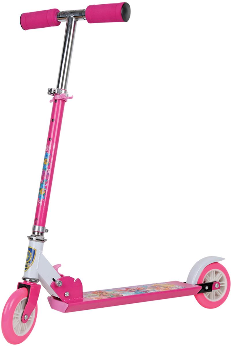 Самокат 1 Toy Navigator, 2-колесный. Т54960Т54960Детский двухколесный самокат 1 Toy с героями из популярного мультсериалаWINX для девочек.Диаметр переднего/заднего колеса: 125 ммМатериал: алюминий/сталь Размер самоката (см): 66 х 9,5 х 80 Масса самоката (кг): 1,64 Грузоподъемность (кг): 50 Индивидуальная цветная упаковка Материал колес: ПВХ Тормоз.