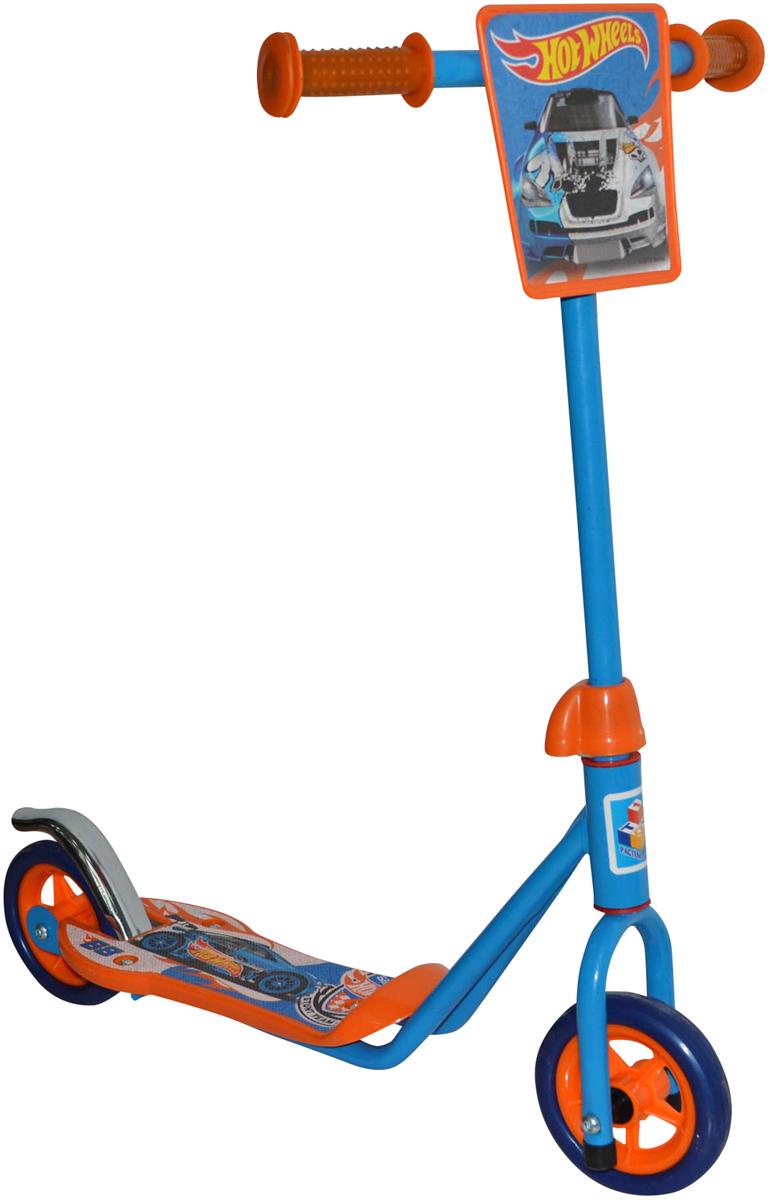 1TOY Самокат двухколесный Hot Wheels цвет оранжевый голубой