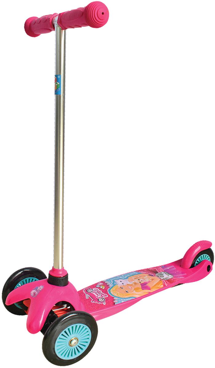 Самокат трехколесный 1TOY Barbie, управляется наклоном
