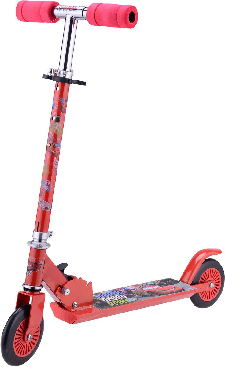Самокат 1 Toy Disney. Тачки, 2-колесный. Т58406Т58406Самокат двухколесный 1 Toy с изображением самой известной гоночной машины среди детской аудитории - Молнии МакКуина из мультфильма Тачки.Диаметр переднего/заднего колеса: 120 ммМатериал: алюминий/сталь Размер самоката (см): 62 х 9,5 х 83 Масса самоката (кг): 2,5 Индивидуальная цветная упаковка Материал колес: ПВХ Тормоз.