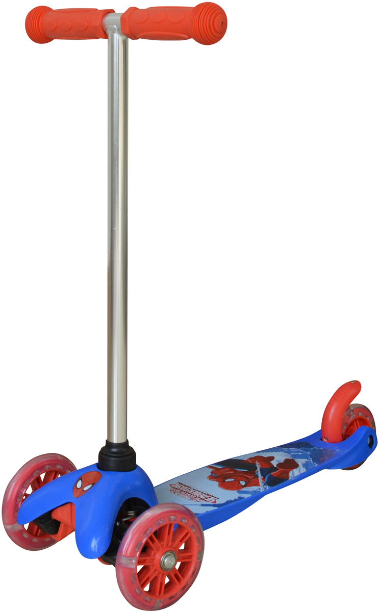 Самокат детский 1TOY Marvel. Человек-Паук, трехколесный, со светящимися колесами, цвет: синий
