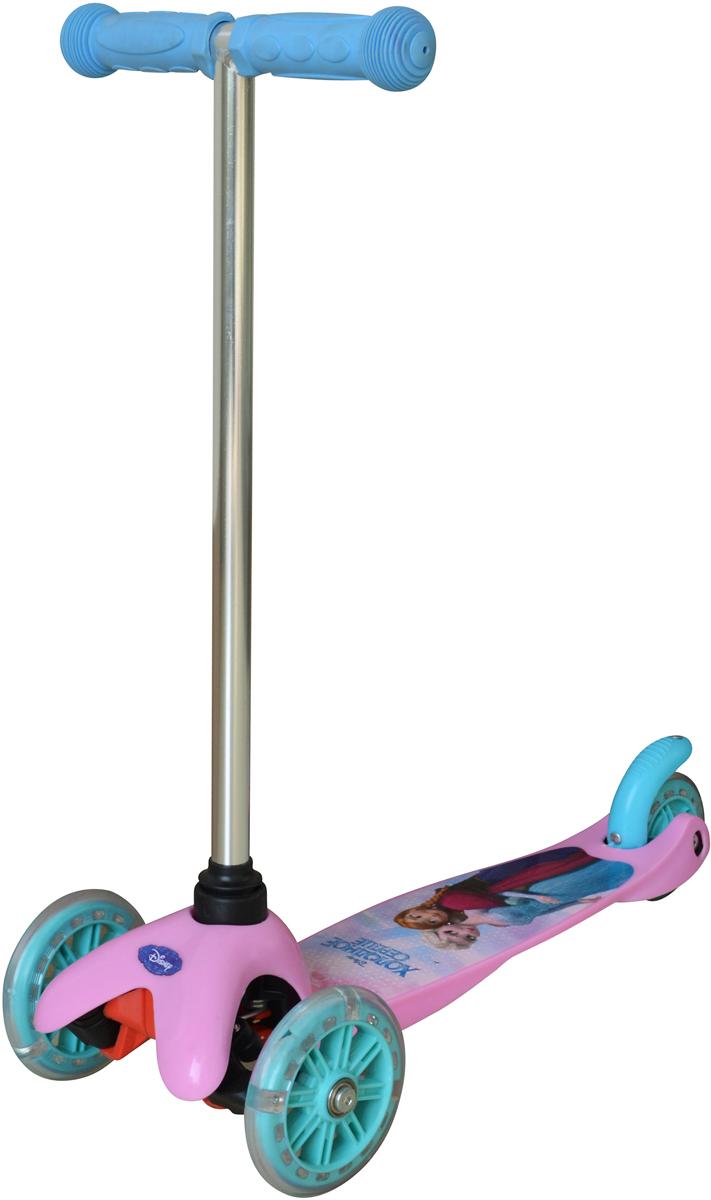 """Самокат детский 1TOY """" Disney. Холодное Сердце"""", трехколесный, со светящимися колесами, цвет: розовый"""