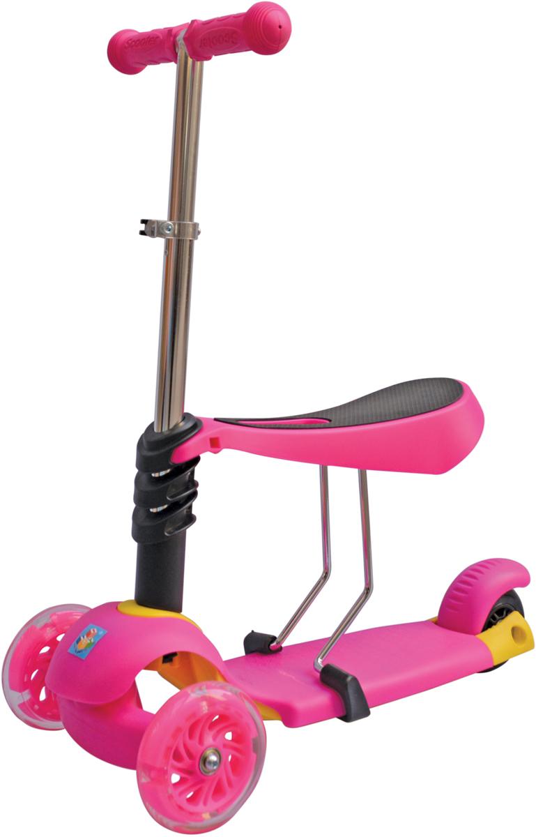 Самокат 1 Toy, 3-колесный. Т59525Т59525Самокат подходит для детей от 3 до 8 лет. Платформа, рама выполнены изнейлона и пластика, руль самоката выполнен из лёгкого алюминиевогосплава. Регулируемый руль (до 52 см), имеет три уровня фиксации.Полиуретановые колеса со светом легко и быстро крутятся, чтообеспечивает хорошую управляемость и скорость самоката. Оснащенрегулируемым (в 3х положениях), съемным сиденьем. Диаметр переднихколес 120 мм, заднего 100 мм. Ширина платформы: 13,5 см. Максимальнаянагрузка на самокат 30 кг.Изображения товара, включая цвет, могут отличаться от реального внешнеговида. Комплектация также может быть изменена производителем безпредварительного уведомления. Описание не является публичной офертой.Убедительно просим вас при выборе модели проверять наличие желаемыхфункций и характеристик.Размер самоката (см): 56,5 х 13,5 х 69(52) Масса самоката (кг): 3,0 Максимальная нагрузка: 30 кг Для детей от 3 лет Материал: нейлон/алюминий Индивидуальная цветная упаковка Материал колес: полиуретан Колеса со светом Регулируемый руль Регулируемое съемное сиденье Тормоз.