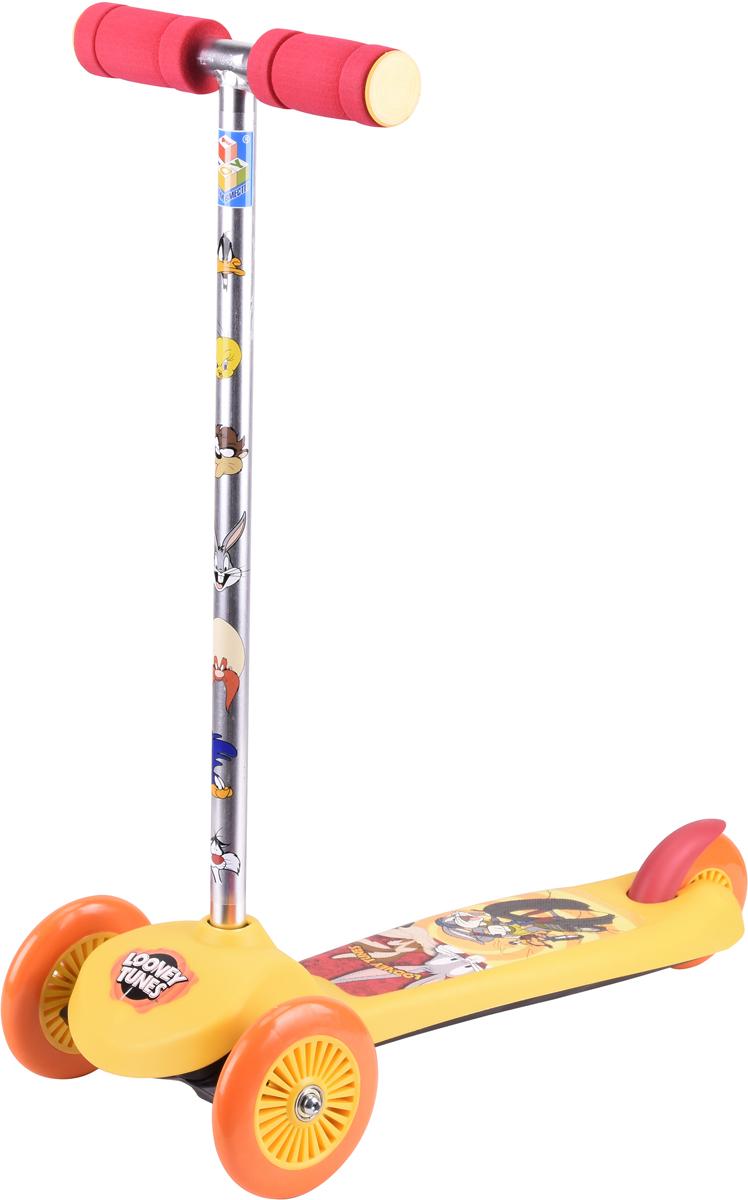 Самокат детский 1TOY Looney Tunes, трехколесный, цвет: желтый самокат детский razor t3 трехколесный цвет салатовый голубой черный
