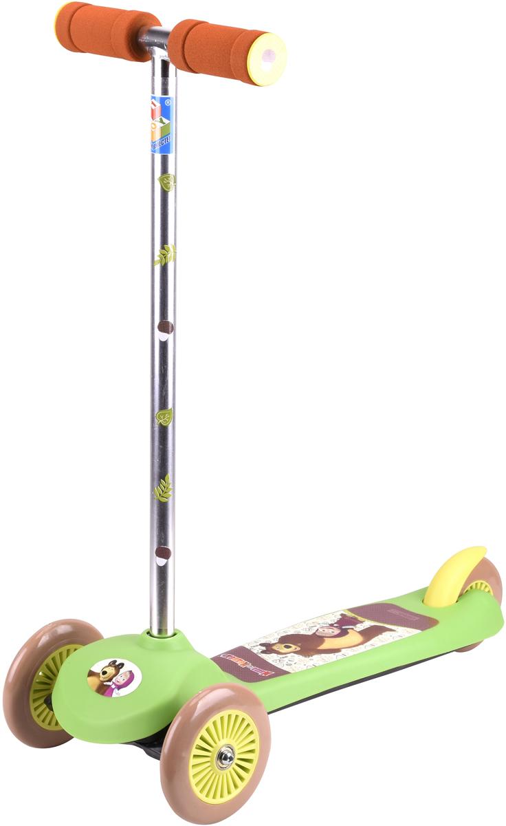 Самокат детский трехколесный 1 Toy Маша и Медведь, цвет: зеленый. Т59555 buggy boom детский трехколесный самокат midi голубой