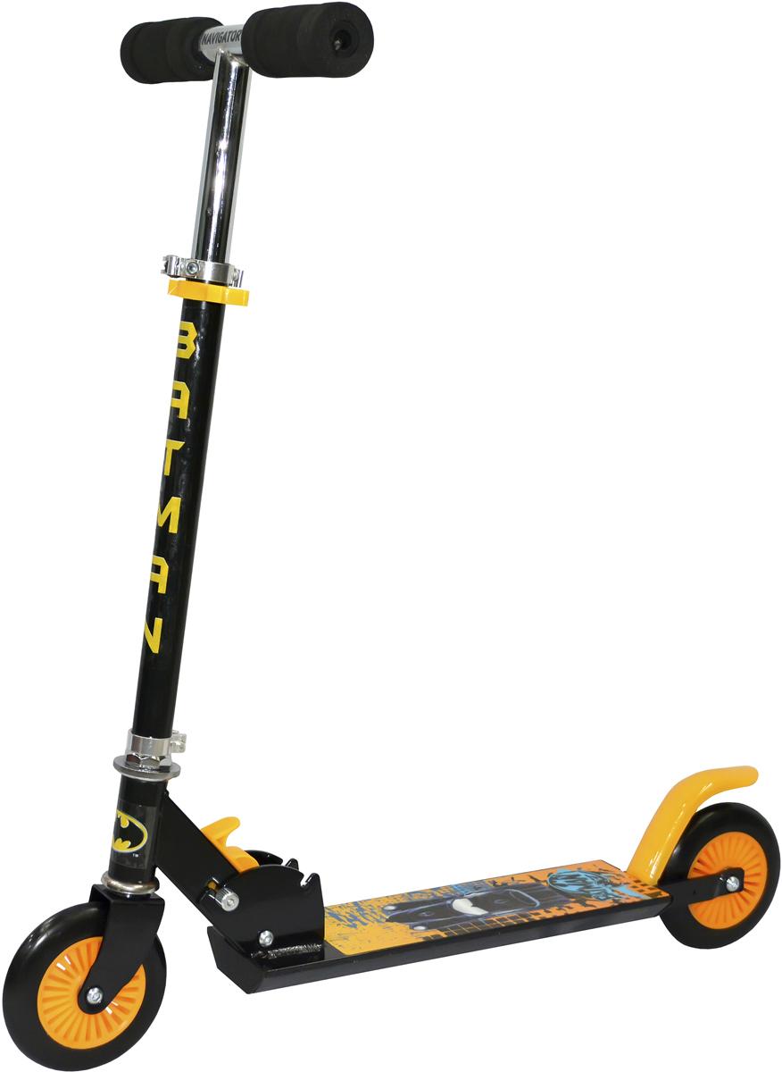 Самокат 1 Toy Navigator, 2-колесный. Т59557Т59557Самокат 1 Toy с персонажем из известного комикса Бэтмен.Диаметр переднего/заднего колеса: 120 мм Материал: алюминий/сталь Размер самоката (см): 62 х 9,5 х 83 Масса самоката (кг): 2,5 Индивидуальная цветная упаковка Материал колес: ПВХ Тормоз.
