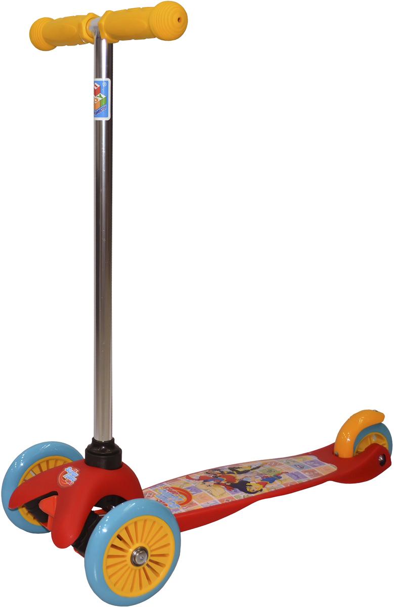 Самокат детский 1TOY Super Hero Girls, трехколесный, цвет: красныйТ59562Детский самокат-кикборд имеет необычный дизайн: он окрашен в яркие цвета, а на платформу для ног нанесен рисунок с изображением персонажей популярного мультсериала Super Hero Girls. Самокат имеет удобную рулевую стойку, предназначенную для детей от 3 лет. Также аппарат имеет три колеса, что придает ему устойчивость во время езды. Кикборд приводится в движение путем наклонения стойки. Такой тип транспорта подойдет любителям активного отдыха.