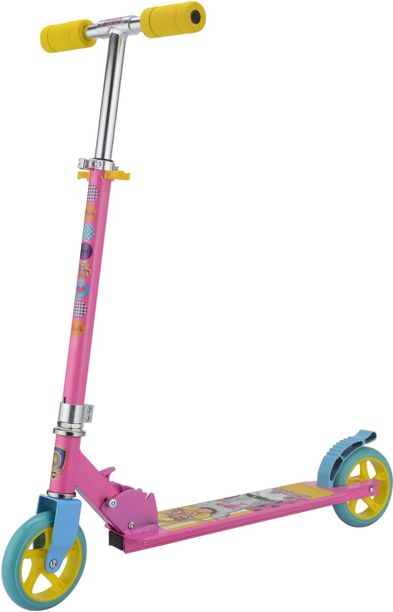Самокат 1 Toy Barbie, 2-колесный. Т59578Т59578Самокат Barbie с красочным дизайном станет прекрасным транспортным средством для маленькой модницы.Диаметр переднего/заднего колеса: 145 мм Размер самоката (см): 73 х 10,5 х 91 Масса самоката (кг): 2,25 Максимальная нагрузка: 50 кг Для детей от 3 лет Материал: алюминий Индивидуальная цветная упаковка Материал колес: полиуретан Тормоз.