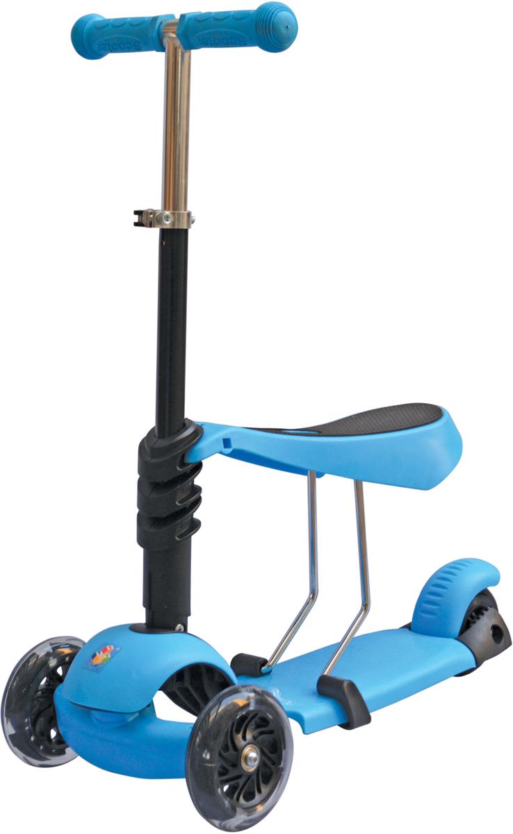 Самокат 1 Toy, 3-колесный. Т59963Т59963Самокат подходит для детей от 3 до 8 лет. Платформа, рама выполнены изнейлона и пластика, руль самоката выполнен из лёгкого алюминиевогосплава. Регулируемый руль (до 52 см), имеет три уровня фиксации.Полиуретановые колеса со светом легко и быстро крутятся, чтообеспечивает хорошую управляемость и скорость самоката. Оснащенрегулируемым (в 3х положениях), съемным сиденьем. Диаметр переднихколес 120 мм, заднего 100 мм. Ширина платформы: 13,5 см. Максимальнаянагрузка на самокат 30 кг.Изображения товара, включая цвет, могут отличаться от реального внешнеговида. Комплектация также может быть изменена производителем безпредварительного уведомления. Описание не является публичной офертой.Убедительно просим вас при выборе модели проверять наличие желаемыхфункций и характеристик.Размер самоката (см): 56,5 х 13,5 х 69(52) Масса самоката (кг): 3,0 Максимальная нагрузка: 30 кг Для детей от 3 лет Материал: нейлон/алюминий Индивидуальная цветная упаковка Материал колес: полиуретан Колеса со светом Регулируемый руль Регулируемое съемное сиденье Тормоз.