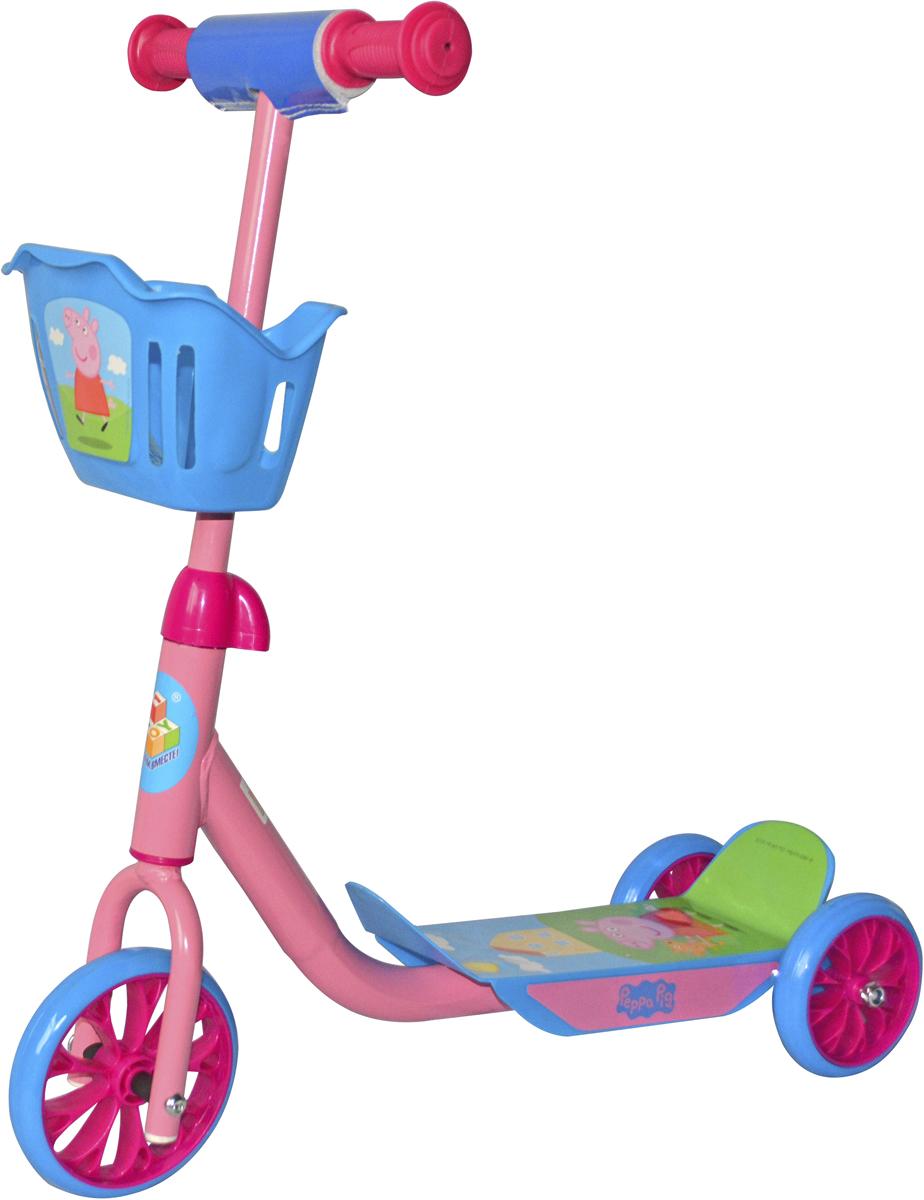 Самокат 1 Toy Peppa, 3-колесный. Т59976Т59976Самокат 1TOY Peppa Pig с управлением наклоном и любимыми персонажамииз мультфильма.Диаметр переднего/заднего колеса: 6/5 Размер самоката (см): 60 х 11 х 73 Масса самоката (кг): 2,1 Максимальная нагрузка: 20 кг Для детей от 3 лет Материал: сталь Индивидуальная цветная упаковка Материал колес: ПВХ Корзина.