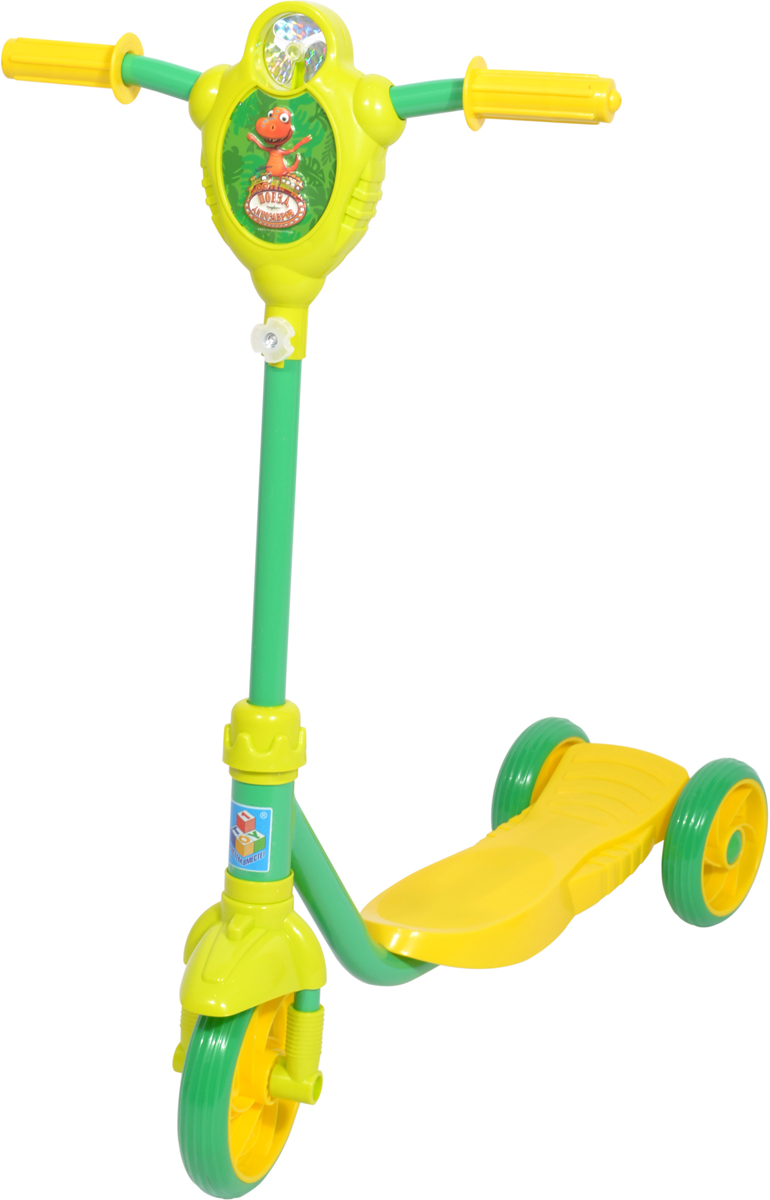 Самокат 1 Toy Поезд Динозавров, 3-колесный. Т59979Т59979Самокат 1TOY Поезд Динозавров с персонажами из мультфильма. Особенности:Диаметр переднего/заднего колеса: 6/5 Размер самоката: 61 х 10,5 х 70 см Масса самоката: 2,3 кг Максимальная нагрузка: 40 кг Для детей от 3 лет Материал: сталь Материал колес: ПВХ Ветрячок.