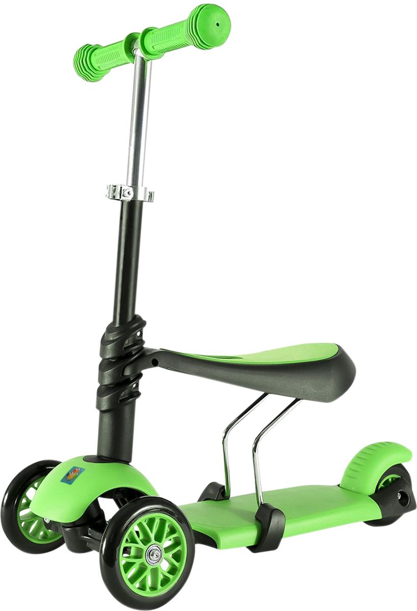 Самокат 1 Toy, 2-колесный. Т59981Т59981самокат подходит для детей от 3 до 8 лет. Платформа, рама выполнены из нейлона и пластика, руль самоката выполнен из лёгкого алюминиевого сплава. Регулируемый руль (до 52 см), имеет три уровня фиксации. Полиуретановые колеса со светом легко и быстро крутятся, что обеспечивает хорошую управляемость и скорость самоката. Оснащен регулируемым (в 3х положениях), съемным сиденьем. Диаметр передних колес 120 мм, заднего 100 мм. Ширина платформы: 13,5 см. Максимальная нагрузка на самокат 30 кг.Изображения товара, включая цвет, могут отличаться от реального внешнего вида. Комплектация также может быть изменена производителем без предварительного уведомления. Описание не является публичной офертой. Убедительно просим Вас при выборе модели проверять наличие желаемых функций и характеристик. Диаметр переднего/заднего колеса: 2х120мм/100мм Размер самоката (см): 56,5х13,5х69(52) Масса самоката (кг): 3,0 Максимальная нагрузка: 30 кг Для детей от 3 лет Материал: нейлон/алюминий Индивидуальная цветная упаковка Материал колес: полиуретан Колеса со светом Регулируемый руль Регулируемое съемное сиденье Тормоз