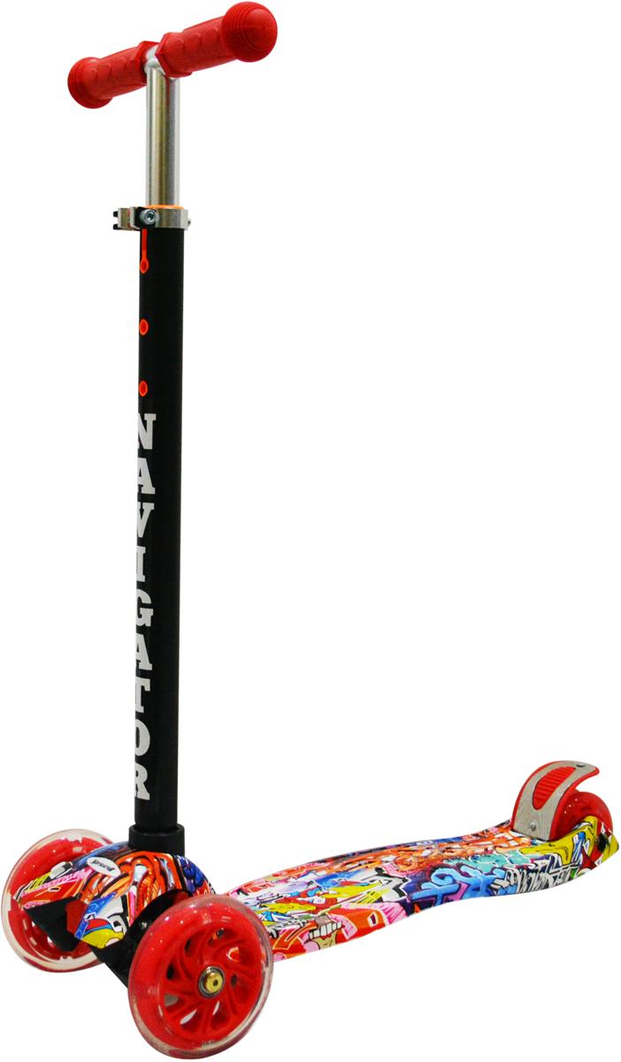 Самокат 1 Toy Navigator, 3-колесный. Т59983Т59983Самокат Navigator подходит для детей от 3 до 8 лет. Платформа, рамавыполнены из нейлона и пластика, руль самоката выполнен из лёгкогоалюминиевого сплава. Регулируемый руль (до 62 см), имеет три уровняфиксации. Полиуретановые колеса со светом легко и быстро крутятся, чтообеспечивает хорошую управляемость и скорость самоката. Диаметрпередних колес 120 мм, заднего 80 мм. Платформа для ног с не скользящимпокрытием и яркой наклейкой, ширина платформы: 13,5 см. Максимальнаянагрузка на самокат 30 кг.Изображения товара, включая цвет, могут отличаться от реального внешнеговида. Комплектация также может быть изменена производителем безпредварительного уведомления. Описание не является публичной офертой.Убедительно просим вас при выборе модели проверять наличие желаемыхфункций и характеристик.Материал: алюминий, нейлон, пластик Размер самоката (см): 56 х 13,5 х 84(62) Масса самоката (кг): 2,4 Индивидуальная цветная упаковка Материал колес: полиуретан Колеса: передние со светом Ручки: резина Тормоз.
