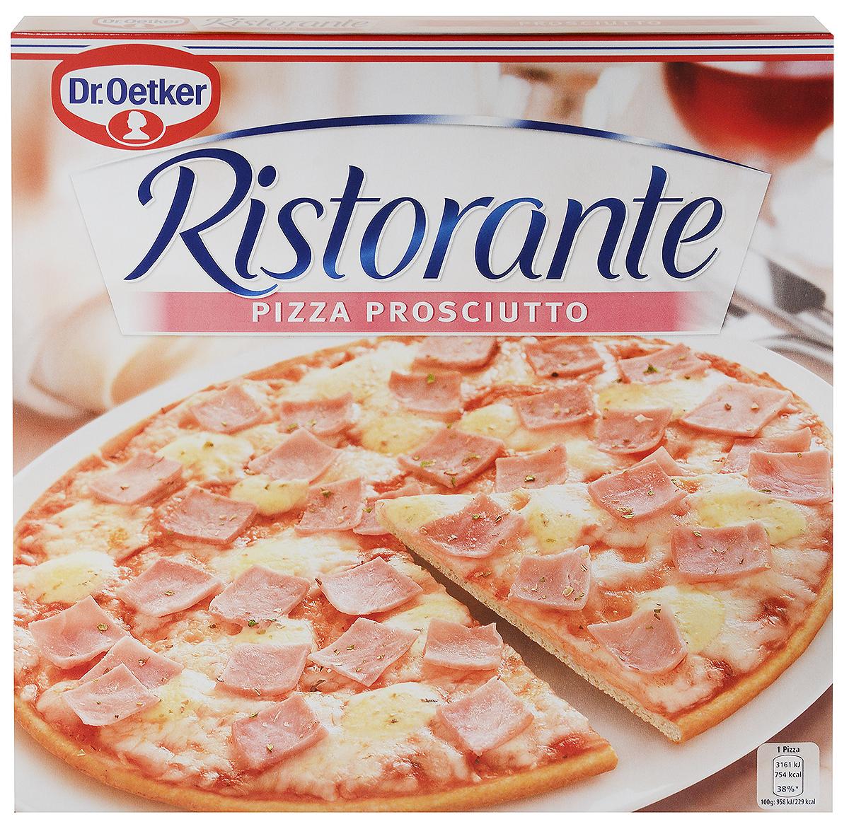 Dr.Oetker Пицца Ristorante Ветчина, 330 г22187Пицца Ristorante - вкусно, как в настоящей итальянской пиццерии! Пицца Ristorante - изысканная итальянская пицца на тонком хрустящем тесте с богатой начинкой. Обильно покрыта помидорами, ветчиной и сыром на хрустящем тонком корже. Способ приготовления: предварительно разогреть духовку, снять пленку,выпекать замороженную пиццу 10-12 минут.