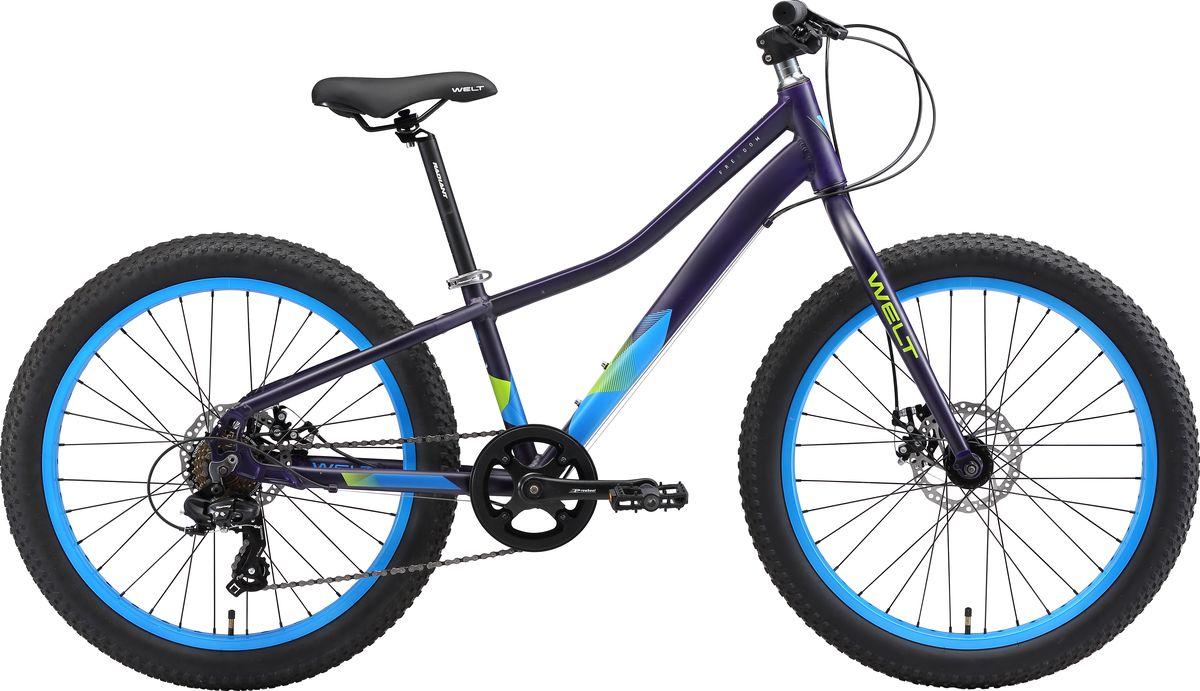 Велосипед детский Welt 2018 FAT Freedom matt, цвет: фиолетовый, синий, колесо 249333725308337Мощь и свобода в одной модели! Все более набирающие популярность фэтбайки в модели FAT Freedom обрели сочетание классики стиля и комфорта для покупателей при очень привлекательной цене, что расширяет границы использования в целом гоночной категории для ежедневных поездок, включая дачное и парковое катание.  Особенности и технологии: - технология #DIAMOND_SHAPE_GEOMETRY# - технология #FREEDOM_TRAIL_SERIES# - мощные дисковые гидравлические тормоза Shimano M-315 работают безупречно не зависимо от погодных условий. -задний переключатель #Shimano# Altus отличается четкой и бесшумной работой. - алюминиевая рама обеспечила велосипеду малый вес без потери прочности. -четырехдюймовые покрышки Chaoyanng 24 x 3.0без труда преодолеют грязь, снег или песок. -кованные алюминиевые шатуны и звезда на пауке. - высверленные обода. - подседельный штырь с замком. Технические характеристики: - Рама: Alloy 6061 - Размер рамы: one size - Диаметр колес: 24 - Кол-во скоростей: 7 - Тип вилки: жесткая - Вилка: Rigid steel ES-14K - Пер. переключатель: нет - Зад. Переключатель: Shimano TY-300 - Шифтеры: Shimano Altus R 7 spd - Тип тормозов: дисковые механические - Тормоза: IQ P1816 - Система: Prowheel - Кассета:Shimano TZ21 14-28T - Тип рулевой колонки: semi-integrated 1-1/8*44 - Покрышки: Chaoyanng 24 x 3.0