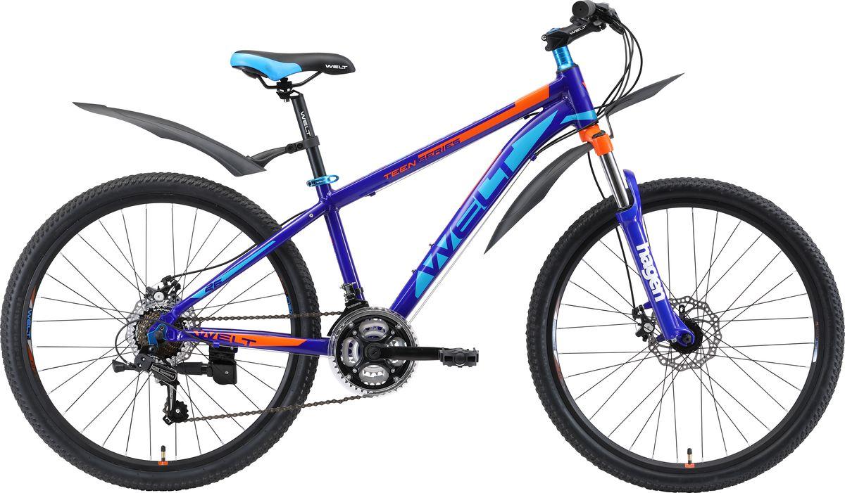 Велосипед детский Welt 2018 Peak Disc, цвет: темно-синий, оранжевый, колесо 26